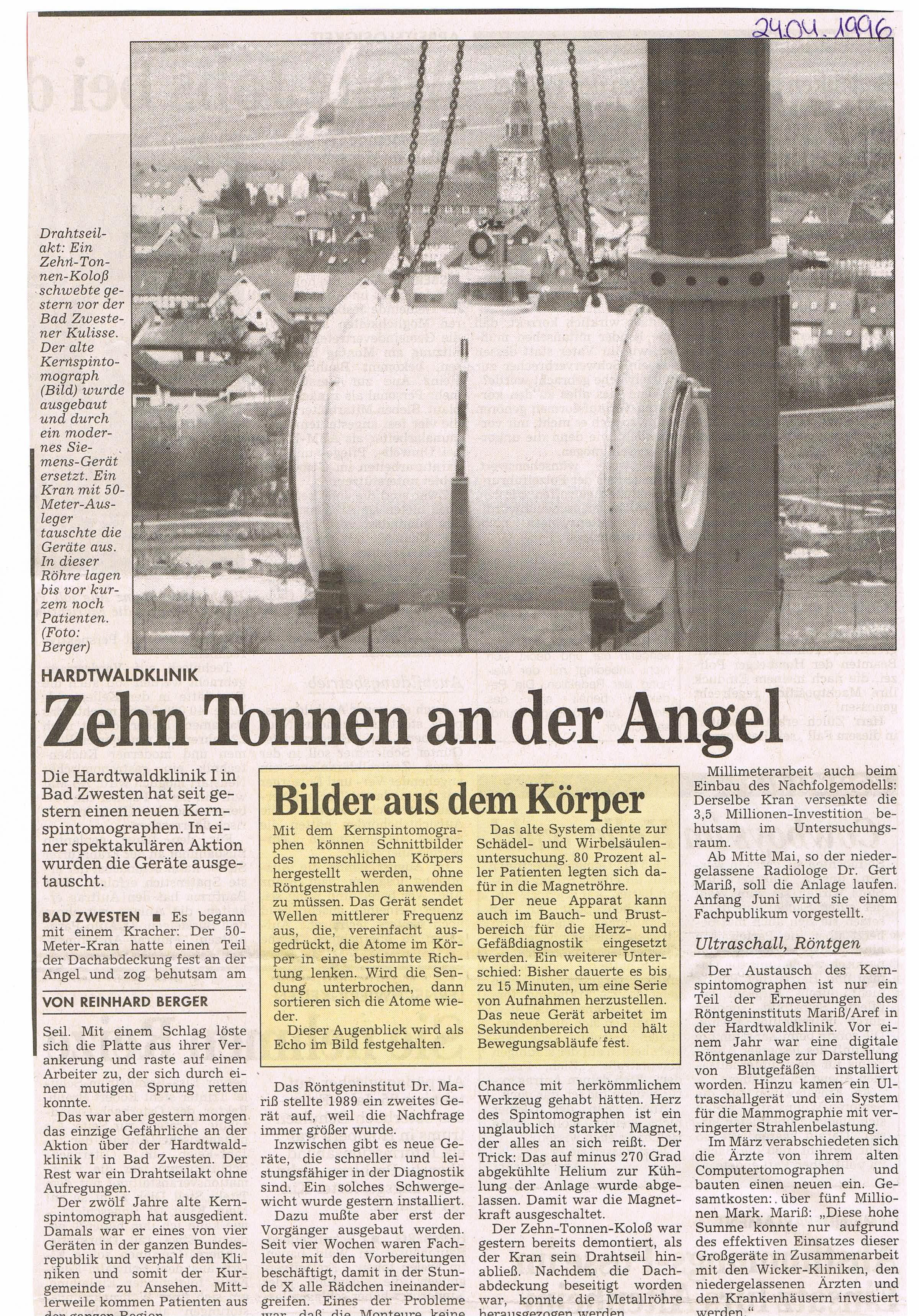 Kernspin-Röhre kam per Luftfracht | Radiologie Nordhessen