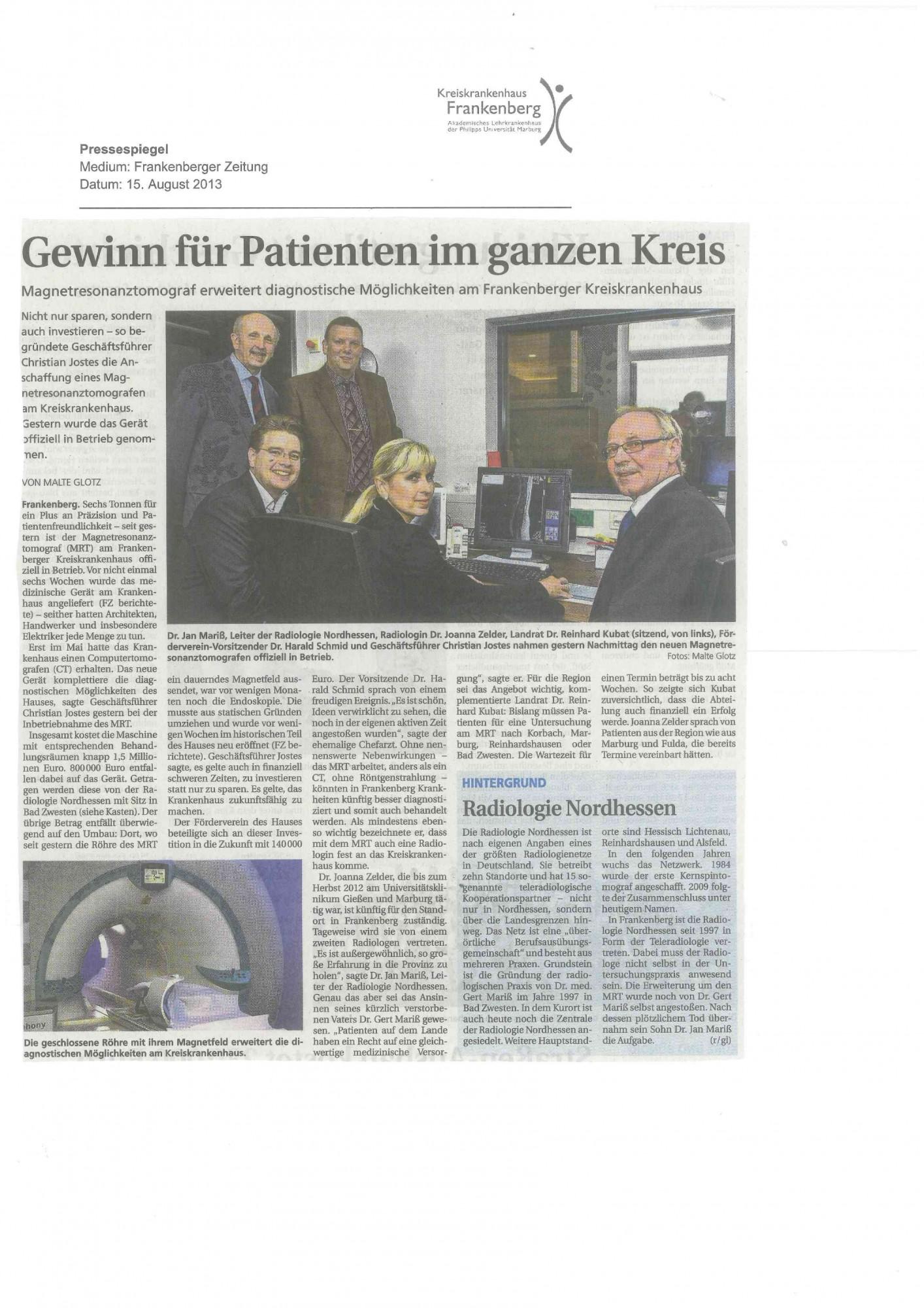 2013_08_15 Gewinn für Patienten im ganzen Landkreis_FZ-001