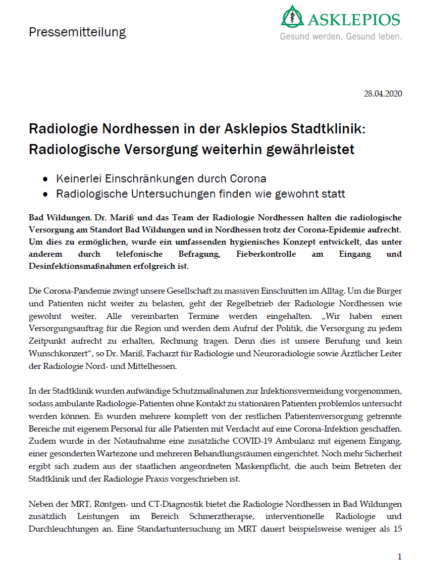 Radiologie Nordhessen in der Asklepios Stadtklinik: Radiologische Versorgung weiterhin gewährleistet