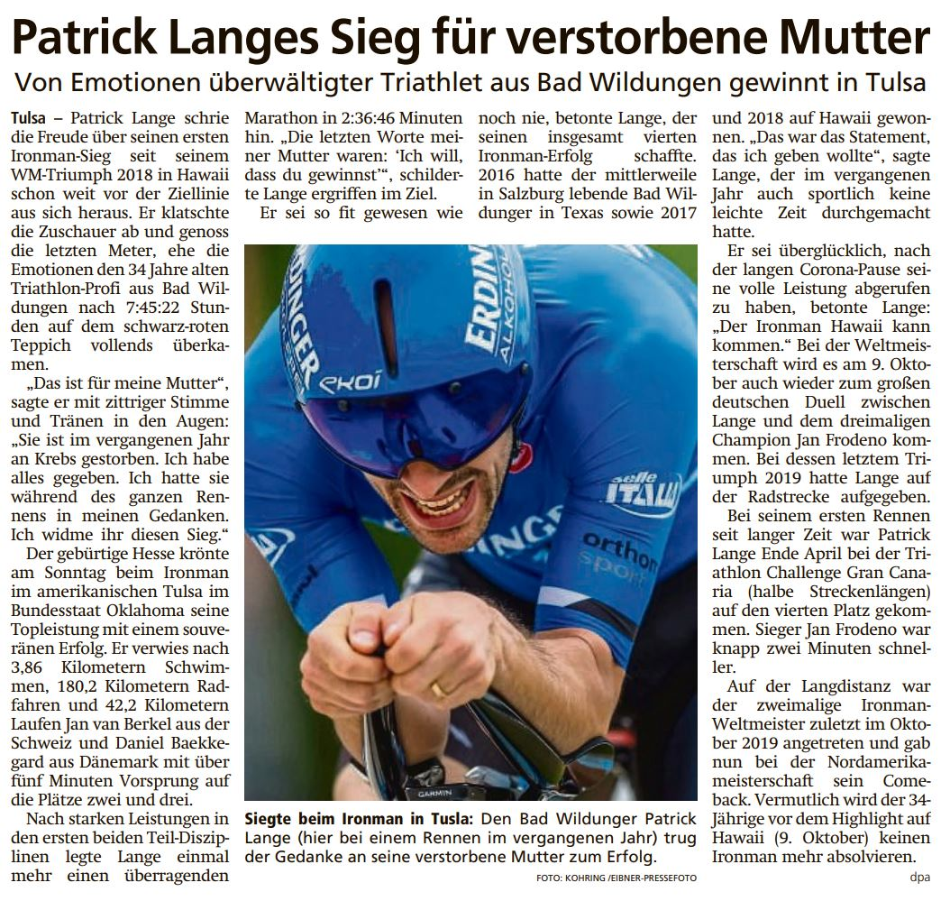 Patrick Lange Sieg für verstorbene Mutter